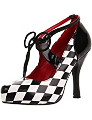 Womens Checkered Pumps Race Car Driver Shoes Halloween Costume 4 Inch Heels