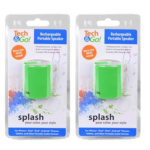 2 Pack Tech & Go Mini MP3 portable mini speaker for Sandisk MP3 Sansa zip player clip sport jam Samsung iphone