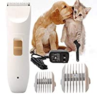 Glamorway Professional Pet Grooming Kit, Rechargeable Clipper for Dogs and Cat Cordless Electric Hair Trimmer for Quick Safe Cutting
