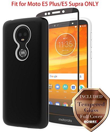 Moto E5 Plus Case, Moto E5 Supra Case with Aoways Tempered Glass Screen Protector, Anti-Slip Hard Back Cover + Soft TPU Shockproof Inner Protective Case for Motorola Moto E5 Plus - Black