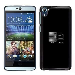 HTC Desire D826 - Metal de aluminio y de plástico duro Caja del teléfono - Negro - Wall Paper - Funny