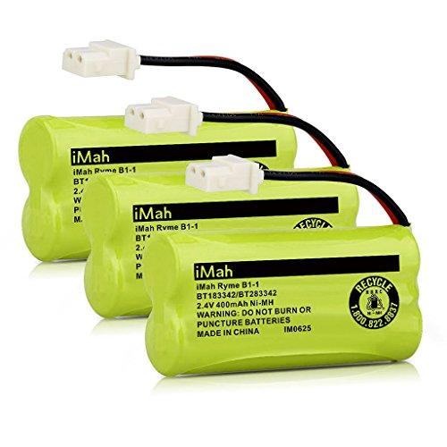iMah BT183342 BT283342 BT166342 BT266342 BT162342 BT262342 Cordless Phone Battery Compatible AT&T EL52100 EL50003 CL80100 CL80111 CRL80112 EL50003 Vtech CS6709 CS6609 CS6509 CS6409 Handsets, Pack of 3