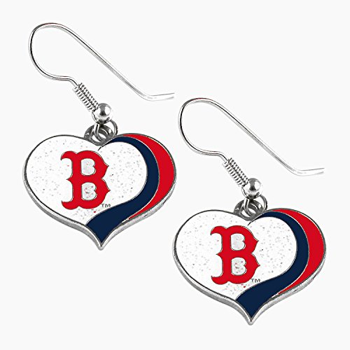 aminco MLB Boston Red Sox Glitter Heart Earring Swirl Charm Set