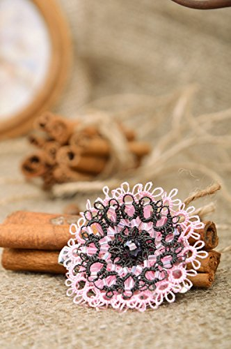 Handmade ankars tatting woven flower brooch hair clip with Czech beads ()