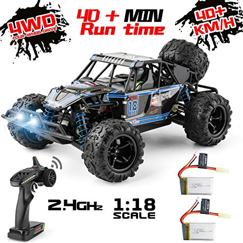 Remote Control Car, 4WD 1:18 Scale High Speed 40+ km/h Off Road Monster Toys RC Truck for Kids and Adults, MiraTekk Waterproof 2.4Ghz Radio Controlled RC Car 2 Rechargeable Batteries for 40+ Min Play (Adult Remote Control Toys)