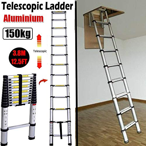 - 3.8M 12.5FT Aluminum Telescoping Collapsible Roof Climbing Ladder for Home Loft Attic Ladder, EN131