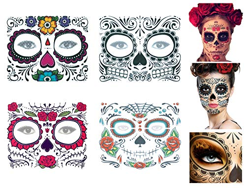 ANGELANGELA 20 Sheets Scary Body Scars Waterproof Temporary Tattoo | 4 Sheets Floral Day of the Dead Sugar Skull Flower Face Tattoo | Bleeding Bloody Wound Scratch Sticker (4 Sheets -