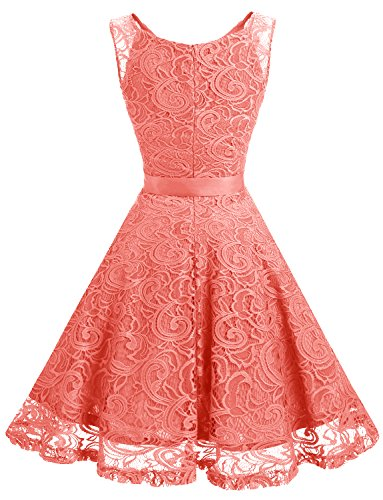 V Dress Dress Women Floral Prom Bridesmaid Neck Lace Party Dressystar Coral Short z6gwaa