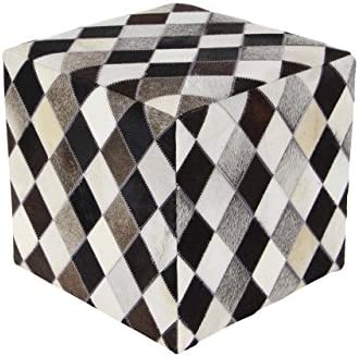 Black/Gray/White Deco 79 Leather and Wood Stool Toys & Games