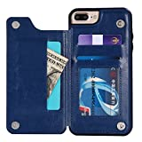 iPhone 8 Plus Case,iPhone 7 Plus Case Retro PU Leather iPhone 8/7 Plus Phone Wallet Case Multi Card Slots Holders Shockproof Flip Protective Defender Shell for Apple iPhone 8 7 Plus Case for Women Men