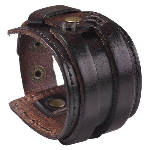 Zysta Punk Gothic Mens Genuine Leather Wristband Cuff Bangle Bracelet 7.5