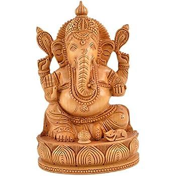 Artisanal D/écor de Pared Templo de Ganesha en Madera Maciza Tallado Mano