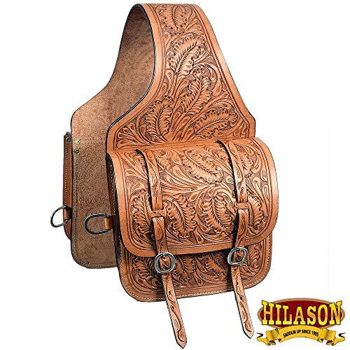 HILASON Western Horse Saddle Bag Floral Acorn Tool Leather Cowboy Trail
