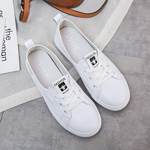 boca primavera cuero hembra de planos blancos WFL transpirables Zapatos blanco verano salvaje do baja zapatos embarazadas zapatos mujeres wqEXw0R