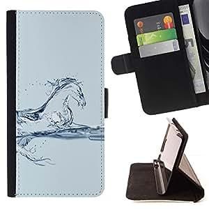 For Sony Xperia Z1 Compact / Z1 Mini (Not Z1) D5503 Case , Caballo corcel Mustang agua de cristal azul- la tarjeta de Crédito Slots PU Funda de cuero Monedero caso cubierta de piel