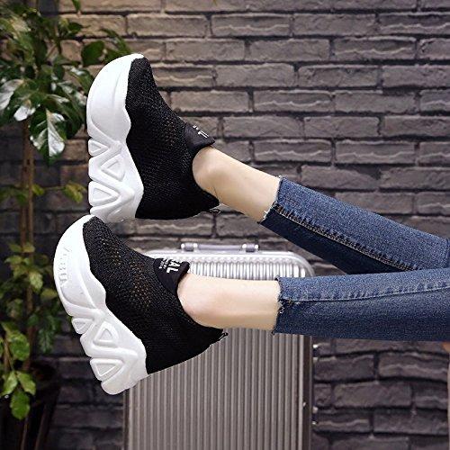 on Casual De Ligero Calzado amp;G Mujeres Transpirable black Pendiente Con Calzado slip Calzado Deportivo NGRDX Vulcanizado 84F6xq