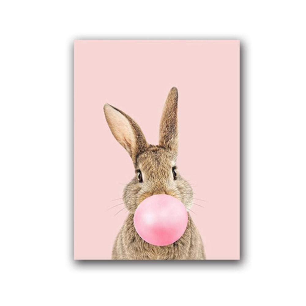 70cm Rabbit Bubble Gum Art Poster Prints Blue Pink Nursery Wall Art Canvas Paintings Wall Picture Baby Animals Bunny Nursery Decor//Unframed//50