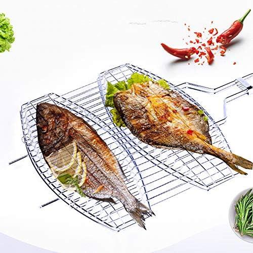 Barbecue Mesh clip, BBQ portable pliant en acier inoxydable Grill panier grillé poisson poulet BBQ net clip en acier inoxydable outil