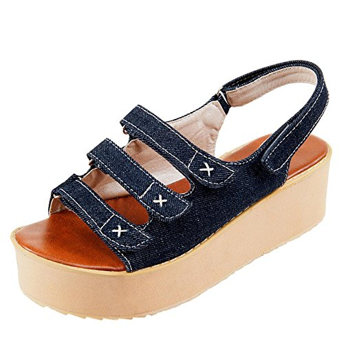 Blue TAOFFEN Sandales Casual Dark Flatform Femmes v8qT8U4