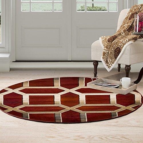 - Home Lavish Opus Art Deco Area Round Rug, 5', Burgundy