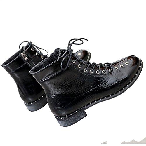 ENMAYER Mujer Charol Material Motocicleta Zapatos Botines Pisos Negro2