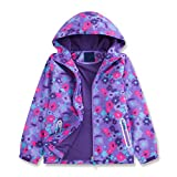 Star Flower Little Girls Rain Jacket Coats with Hood (8, Violet)