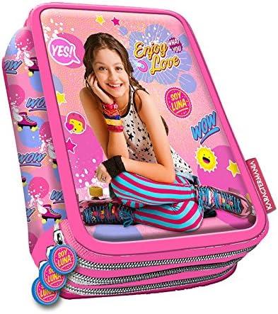 Soy Luna – Estuche escolar 3 compartimentos con Fournitures scolaires rosa Yes soy Luna: Amazon.es: Oficina y papelería