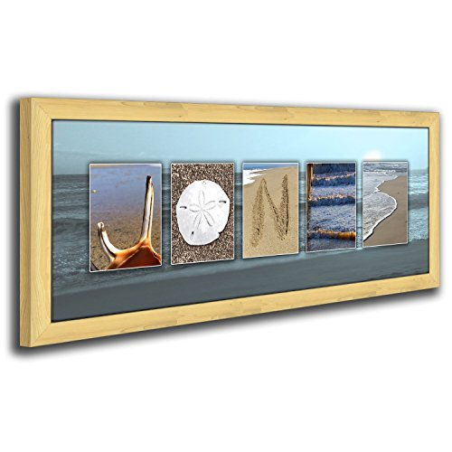 Personalized Coastal, Beach, Nautical Name Art Decor Gift. (Framed Canvas 13.5 x 32.5)