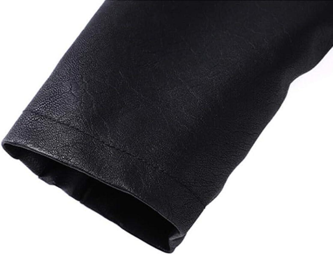 GRMO Mens Motorcycle Biker Fleece Lined Faux PU Leather Zipper Coat Jacket Black