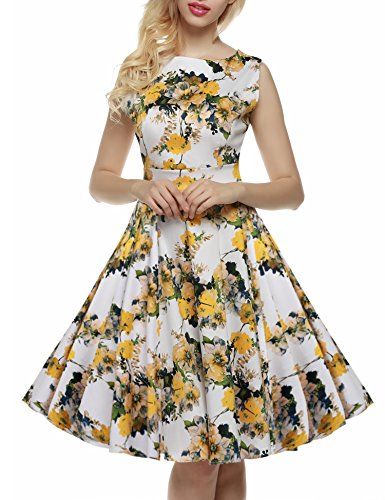 Sleeveless Spring Women's ACEVOG 1950's Floral Light Party Garden Vintage Picnic Yellow Dress q4OSCtwZn