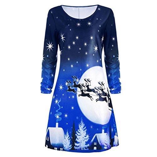 bescita Frauen Weihnachten Print Langarm Kleid Damen O-Neck Abend Party Knielangen Kleid (M, Blau)