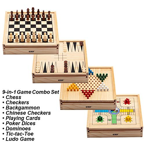 Wooden 9-in-1 Chess, Checkers, Backgammon, Chinese Checkers, Playing Cards, Poker Dices, Dominoes, Tic-tac-Toe and Ludo Game Combo Set