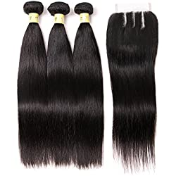 Mureen Brazilian Virgin Hair 3 Bundles with Closure (14 16 18 + 12, Three Part) Natural Black 8A 100% Unprocessed Brazilian Straight Human Hair Weft with Lace Closure