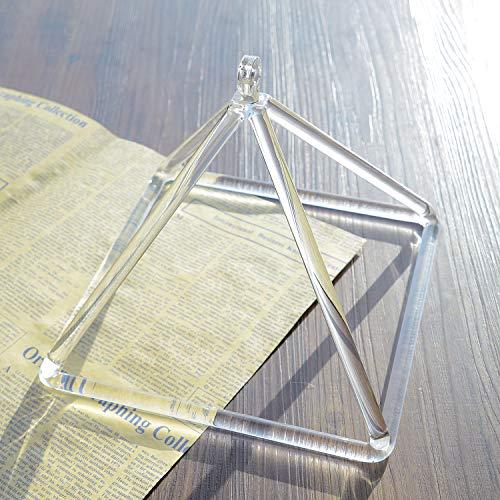 (TOPFUND Singing Bowls Clear Quartz Crystal Singing Pyramid 8 inch (Suede Quartz Sticker Included))