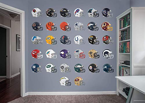 Stickers Item Wall Sports - FATHEAD NFL League Logo NFL - Helmet Collection- Officially Licensed Removable Wall Decals, Multicolor, Giant