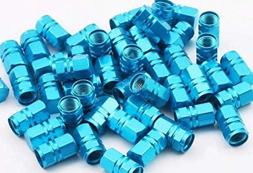 BATH 4 Light Blue Aqua Metal Alloy Wheel Tyre Valve Dust Cap Caps UK Stock