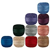 Set of 10 Pcs Multicolor Cotton Crochet Thread Cross Stitch Knitting Balls Yarn Tatting Doilies Skeins Lacey Craft