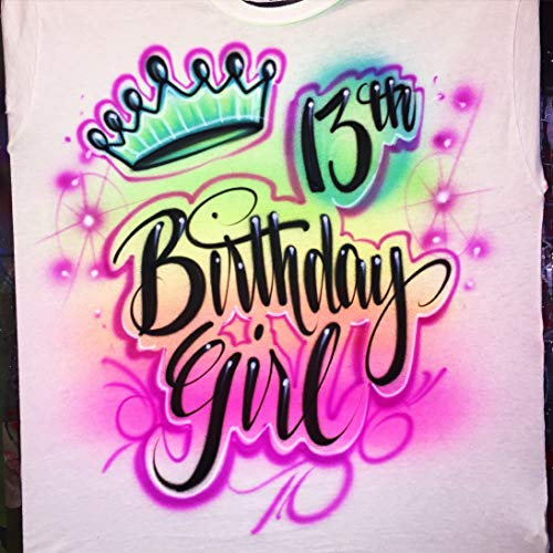 Airbrush Custom Birthday Girl T-Shirt - Spray Paint Design