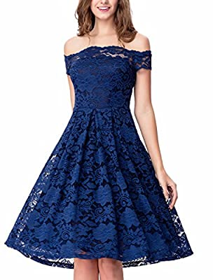 Noctflos Women's Off Shoulder Lace Swing Dress for Cocktail Wedding Party