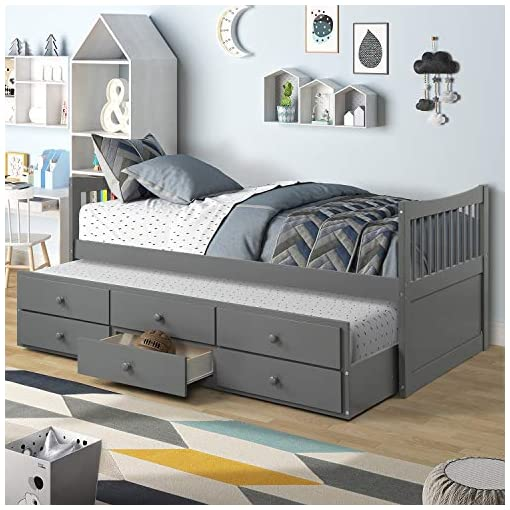 Lz Leisure Zone Captain S Bed Twin Daybed With Trundle Bed And 3 Storage Drawers Grey Beachfront Decor