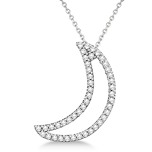 Amazon 025ct diamond half moon pendant necklace 14k white gold 025ct diamond half moon pendant necklace 14k white gold crescent moon nature g hsi aloadofball Image collections