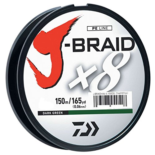 Filler Spools 8 Pound - Daiwa JB8U8-1500DG J-Braid Braided Line, 8 Lbs Tested, 1650 yd/1500M Filler Spool, Dark Green