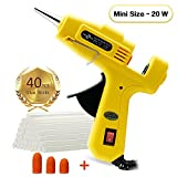 Fayogoo Hot Glue Gun Mini, Glue Gun with Glue Sticks 40 Pcs, Low Temperature Hot Melt Mini Glue Gun for Household DIY Arts Crafts Decoration Repair Sealing in Home Office School, 20 Watt, Yellow