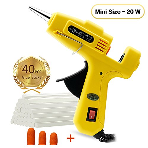 Fayogoo Hot Glue Gun Mini, Glue Gun with Glue Sticks 40 Pcs, Low Temperature Hot Melt Mini Glue Gun for Household DIY Arts Crafts Decoration Repair Sealing in Home Office School, 20 Watt, Yellow