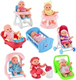 "Click N' Play Set of 8 Mini 5"" Baby Girl Dolls with Accessories, Stroller, Cradle, High Chair, Bathtub, Infant Seat, Swing, Walker, Potty"