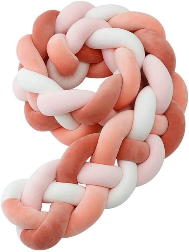 RAILONCH Tress/ée Tour De Lit Coussin b/éb/é serpent Coussin tress/é Berceau velours Berceau Bumper tress/é Berceau b/éb/é nou/é Peluche tress/ée Tour de Lit 2m//3m Blanc,2m