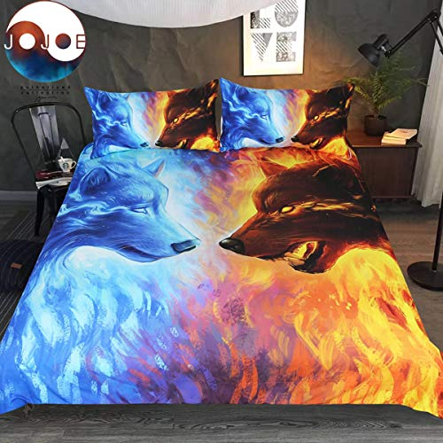 Fire and Ice by JoJoesArt Bedding Set 3pcs 3D ICY Hot Wolf Bed Set Blue and Orange Duvet Cover (Full)