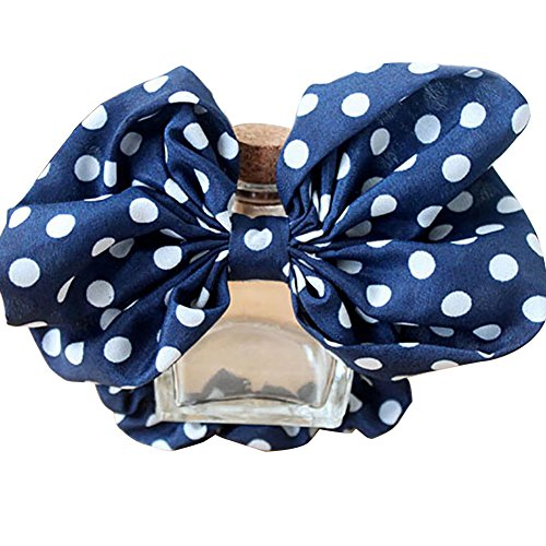 Tail Blue Bow Dot Tie (Catnew Big Bowknot Polka Dots Hair Tie Rope Ponytail HairBands -Navy Blue+White)