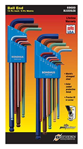 Bondhus 69600 Ball End Double Pack L-Wrench Set with ColorGuard, 13 Piece -