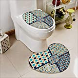 also easy 2 Piece Toilet lid cover mat set seamless islamic patterns set in color vector geometrical texture Soft Shaggy Non Slip